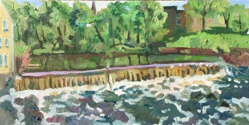 Pawtucket River at Slater Mill, Paintings, Fine Art,Impressionism,Realism, Landscape,Nature, Oil, By Marc Clamage