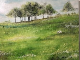Peaceful Pasture, Paintings, Impressionism, Landscape, Oil, By Stephen Keller