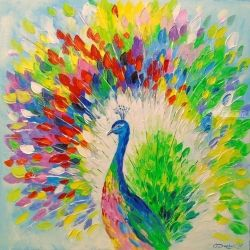 Peacock, Paintings, Fine Art,Impressionism, Animals, Canvas,Oil,Painting, By Olha   Darchuk