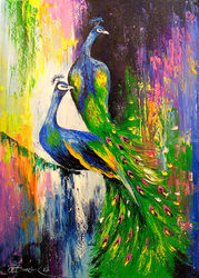 Peacocks, Paintings, Abstract,Impressionism, Animals,Botanical,Nature, Canvas,Oil,Painting, By Olha   Darchuk