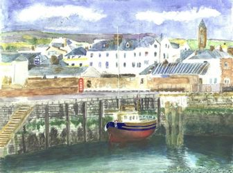 Peel Harbour, Isle of Man, Paintings, Realism, Seascape, Watercolor, By Michelle Archer