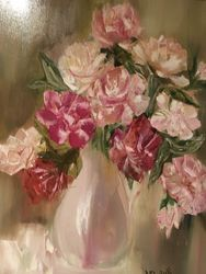 Peonies, Paintings, Fine Art, Botanical, Canvas, By Lubov Pavluk