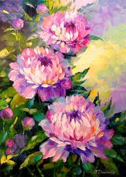 Peonies, Paintings, Expressionism,Fine Art,Impressionism, Botanical,Floral,Nature, Canvas,Oil,Painting, By Olha   Darchuk