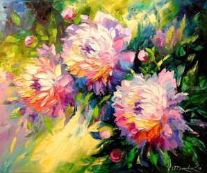 Peonies, Paintings, Expressionism,Fine Art,Impressionism, Botanical,Floral,Nature, Oil,Painting, By Olha   Darchuk