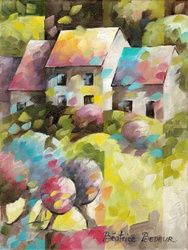 Petites maisons dans la<br>prairie, Architecture,Paintings, Abstract,Expressionism,Fauvism,Fine Art,Impressionism, Architecture,Landscape,Nature, Canvas,Oil, By Beatrice BEDEUR