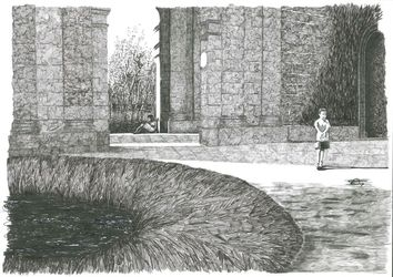 Piazza #1, Illustration, Fine Art, Architecture, Ink, By Francis Charlton