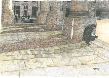 Piazza #2, Architecture, Chance, Daily Life, Ink, By Francis Charlton