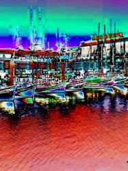 Pier 39 Abstract Painting, Animation,Digital Art / Computer Art,Paintings,Photography, Abstract,Fine Art,Street Art, Daily Life,Nature, Digital,Mixed,Painting, By Catherine Bayani