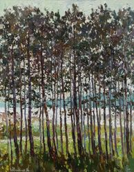 Pine forest Original oil<br>painting, Paintings, Impressionism, Landscape,Nature, Canvas,Oil,Painting, By Anastasiya Valiulina