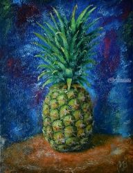 Pineapple. Nikolay Velikiy, Paintings, Abstract,Expressionism, Decorative,Nature,Still Life, Canvas,Oil, By Nikolay Velikiy