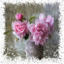 pink flowers, Paintings, Impressionism, Floral, Mixed,Oil,Painting, By Angelo