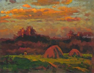 Pink haystacks, Paintings, Impressionism, Landscape, Canvas,Oil,Painting, By Sergey Belikov