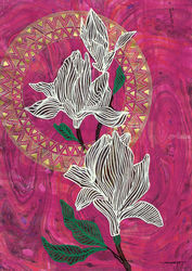 Pink Magnolia, Paintings, Abstract, Botanical,Floral,Nature, Acrylic,Ink,Mixed,Painting, By Kreativ Corner