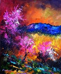 Pink trees, Architecture,Decorative Arts,Drawings / Sketch,Paintings, Expressionism, Nature, Canvas, By Pol Ledent