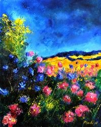 Pink wild flowers, Architecture,Decorative Arts,Drawings / Sketch,Paintings, Fauvism, Botanical, Canvas, By Pol Ledent