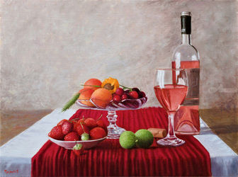 Pinot Rose, Paintings, Fine Art,Photorealism,Realism, Still Life, Canvas,Oil, By Dejan Trajkovic