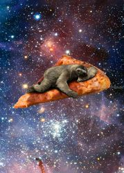 Pizza Sloth In Space, Assemblage,Graffiti, Expressionism,Fine Art, Anatomy,Decorative, Charcoal,Pastel, By Koop Shawneen