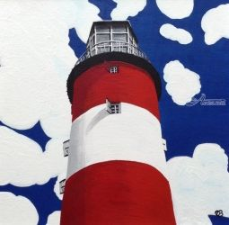 Plymouth Lighthouse, Paintings, Fine Art,Impressionism,Surrealism, Architecture,Seascape, Acrylic, By Ann Biddlecombe