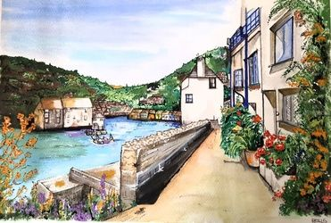 Polperro, Architecture, Modernism, Architecture, Watercolor, By Matthew Baylis