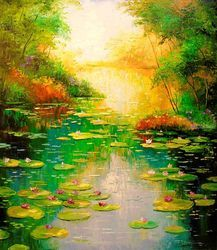 Pond, Paintings, Impressionism, Botanical,Floral,Land Art,Landscape,Nature, Canvas,Oil,Painting, By Olha   Darchuk