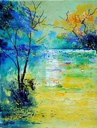 Pond 454190, Architecture,Decorative Arts,Drawings / Sketch,Paintings, Impressionism, Decorative, Canvas, By Pol Ledent
