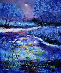 Pond 563111, Architecture,Decorative Arts,Drawings / Sketch,Paintings, Expressionism, Landscape, Canvas, By Pol Ledent