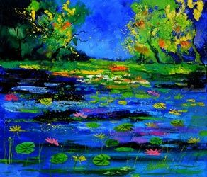 Pond 6751, Architecture,Decorative Arts,Drawings / Sketch,Paintings, Expressionism, Landscape, Canvas, By Pol Ledent