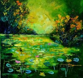 Pond 887170, Paintings, Expressionism, Botanical, Canvas, By Pol Ledent