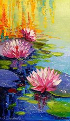 Pond and Lily, Paintings, Expressionism,Fine Art,Impressionism, Botanical,Floral,Nature, Canvas,Oil,Painting, By Olha   Darchuk