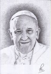 Pope Francis on pointillis, Decorative Arts, Fine Art, Decorative, Pencil, By Petrus Antoro