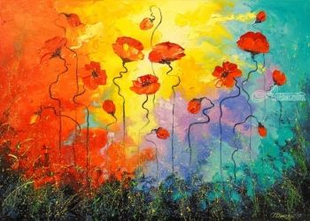 Poppies, Paintings, Impressionism, Botanical,Floral, Canvas,Oil,Painting, By Olha   Darchuk