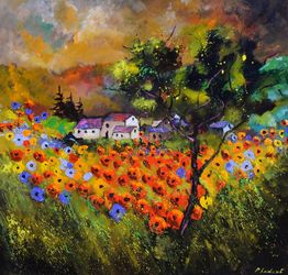 Poppies, Architecture,Decorative Arts,Drawings / Sketch,Paintings, Expressionism, Landscape, Canvas, By Pol Ledent