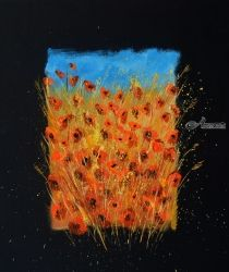 Poppies 677730, Paintings, Expressionism, Botanical, Canvas, By Pol Ledent