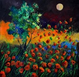 Poppies 774111, Paintings, Expressionism, Botanical,Floral,Landscape, Canvas, By Pol Ledent