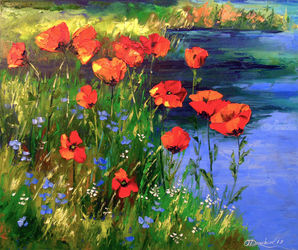 Poppies at the pond, Paintings, Impressionism, Botanical,Landscape,Nature, Canvas,Oil,Painting, By Olha   Darchuk