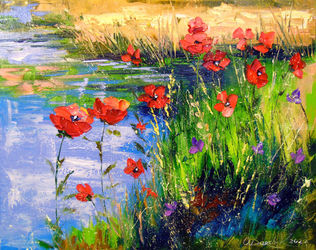 Poppies by the pond, Paintings, Impressionism, Botanical,Floral,Land Art,Landscape,Nature, Canvas, By Olha   Darchuk