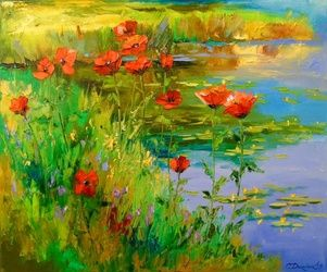 Poppies by the pond, Paintings, Impressionism, Botanical,Floral,Land Art,Nature, Canvas,Oil,Painting, By Olha   Darchuk