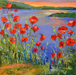 Poppies by the river, Paintings, Impressionism, Botanical,Floral,Landscape, Canvas,Oil,Painting, By Olha   Darchuk