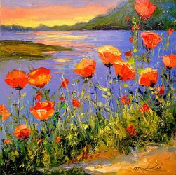 Poppies by the river, Paintings, Impressionism, Botanical,Floral,Landscape,Nature,Wildlife, Canvas,Oil,Painting, By Olha   Darchuk
