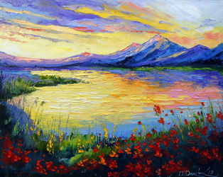 Poppies on the lake by the<br>mountains, Paintings, Impressionism, Botanical,Floral,Landscape,Nature, Canvas,Oil,Painting, By Olha   Darchuk