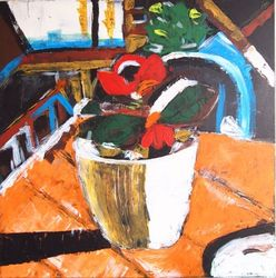 Poppy, Paintings, Abstract,Expressionism,Impressionism,Primitive, Still Life, Canvas, By Lianne Kocks