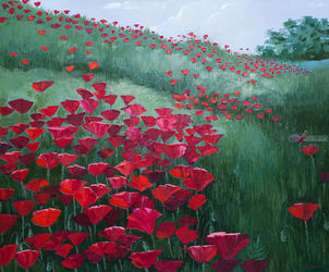 Poppy field, Crimea, Paintings, Fine Art,Impressionism,Modernism,Realism, Landscape, Canvas,Oil, By Ivan Klymenko