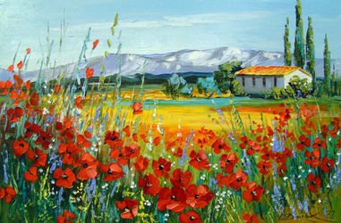 Poppy field near the mountains, Paintings, Fine Art,Impressionism, Botanical,Floral,Landscape, Canvas,Oil,Painting, By Olha   Darchuk