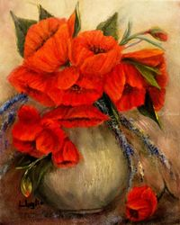 Poppy Passion, Paintings, Fine Art,Impressionism,Primitive,Romanticism, Floral,Still Life, Canvas,Oil, By Loretta Luglio