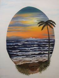 Porthole to Paradise, Paintings, Fine Art,Realism, Seascape, Canvas,Oil,Painting, By Lana Fultz