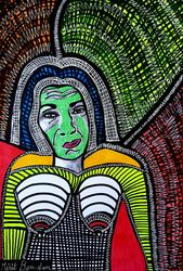 Portrait Israel artist woman<br>jewish painter autentic<br>paintings Mirit Ben-Nun, Paintings, Expressionism, People, Ink, By Mirit Ben-Nun