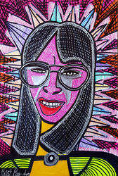 Portraits Israeli woman Mirit<br>Ben-Nun decorative modern art, Paintings, Expressionism, People, Ink, By Mirit Ben-Nun