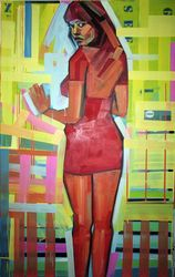 Pro_vocation in no centre, Paintings, Modernism, Erotic,Figurative, Canvas,Oil,Wood, By Piotr Kachny