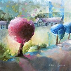 Promenade sur le chemin, Architecture,Paintings, Abstract,Expressionism,Fauvism,Fine Art,Impressionism, Figurative,Floral,Landscape,Nature, Canvas,Oil, By Beatrice BEDEUR