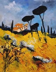 provence 453111, Architecture,Decorative Arts,Drawings / Sketch,Paintings, Expressionism, Landscape, Canvas, By Pol Ledent